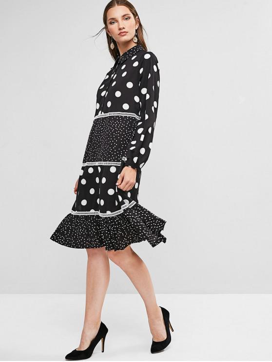 lady Flounced Hem Half Buttoned Polka Dot Long Sleeve Dress - BLACK L