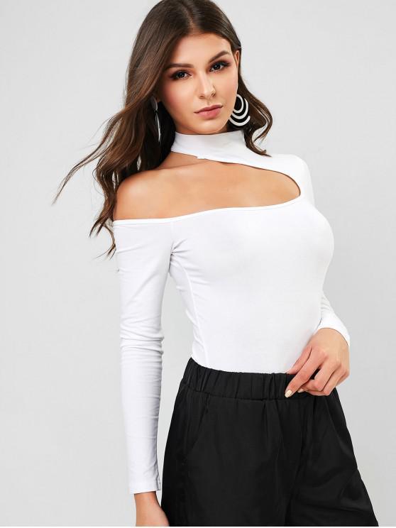 lady Snap Button Mock Neck Cut Out Bodysuit - WHITE S