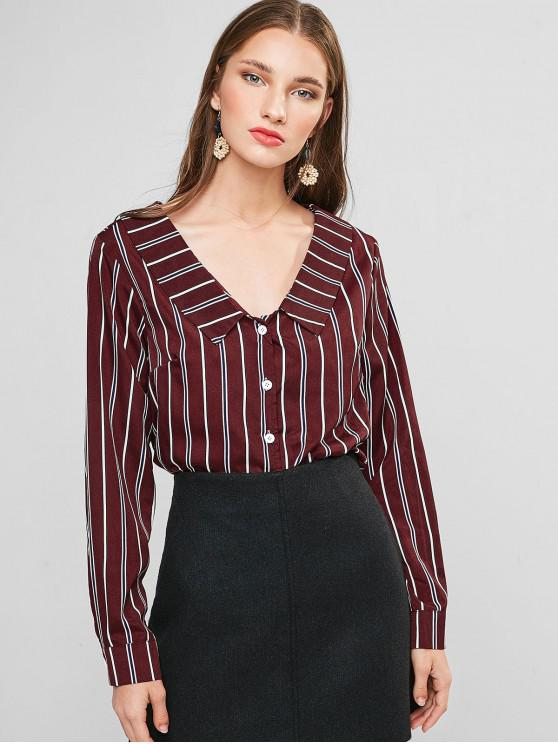lady Striped Turndown Collar Knotted Blouse - RED WINE L