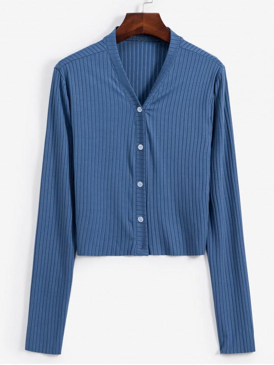 unique Button Up Ribbed V Neck Cardigan - SILK BLUE S