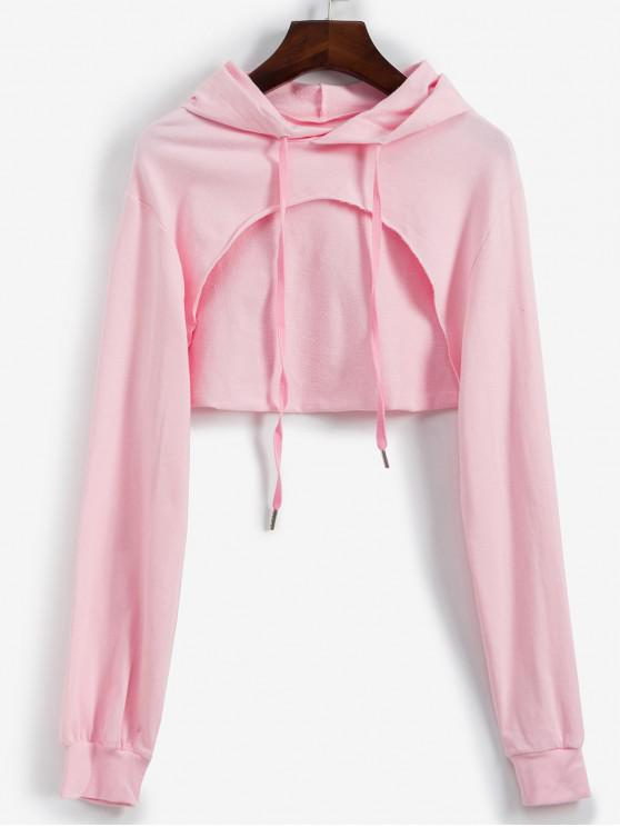 women's Cropped Cut Out Front Raw Hem Hoodie - PINK L