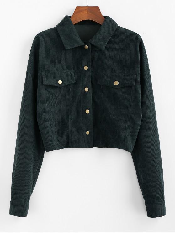 online ZAFUL Corduroy Drop Shoulder Crop Shirt Jacket - ARMY GREEN L