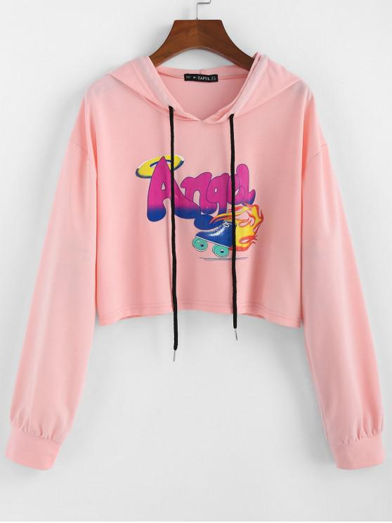 fashion ZAFUL Letter Graphic Drawstring Cropped Hoodie - FLAMINGO PINK S