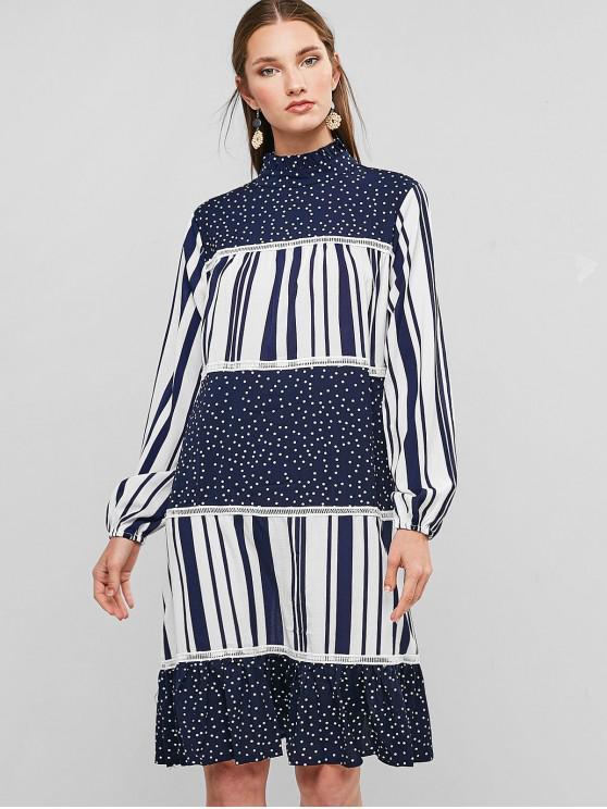 fancy Dotted Stripes Ruffled Hem Long Sleeve Dress - DEEP BLUE XL