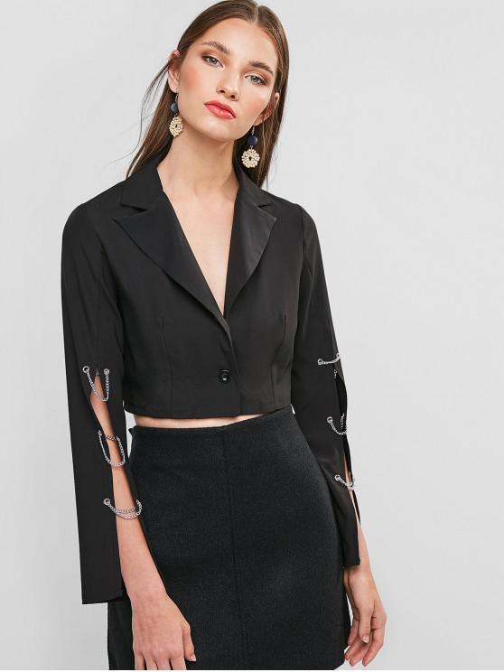 trendy Lapel Chains Embellished Crop Blazer - BLACK L