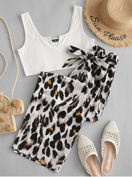 sale ZAFUL V Cut Leopard Wide Leg Paperbag Pants Set - MULTI L