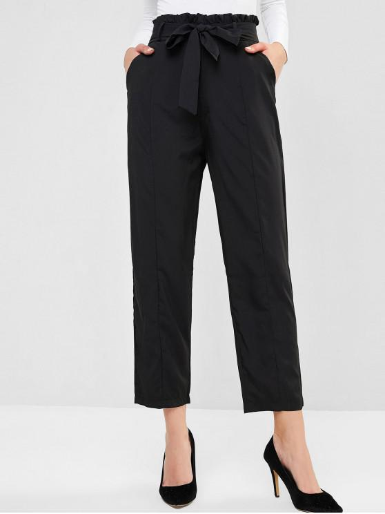 Pocket Peg Leg Paperbag Pants - Nero XL