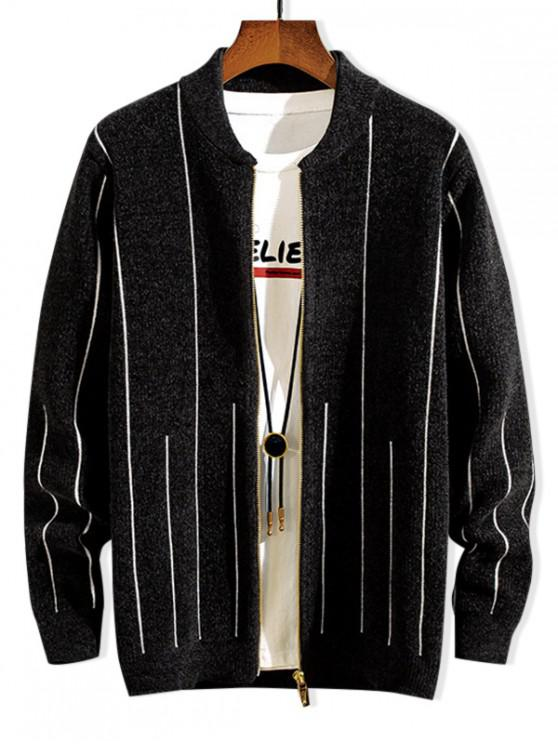 hot Striped Graphic Zip Up Casual Sweater - BLACK S