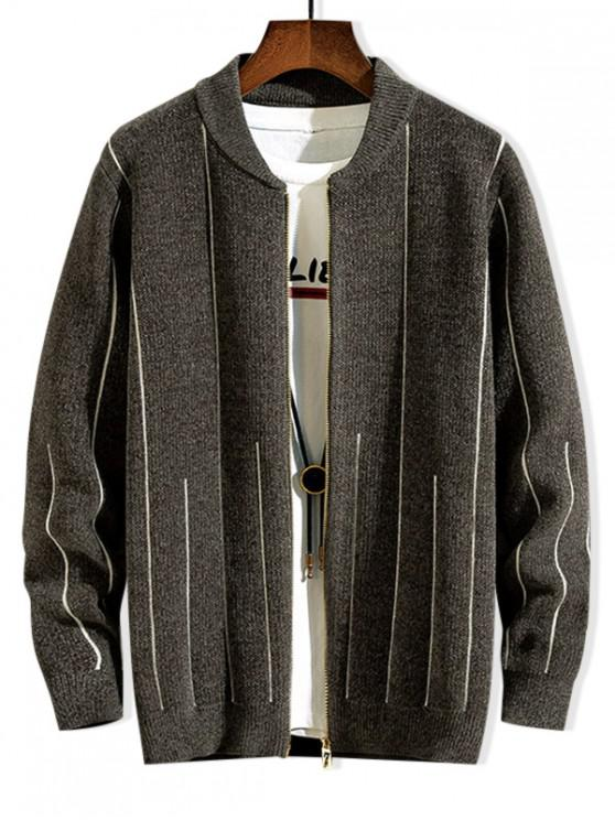 ladies Striped Graphic Zip Up Casual Sweater - GRAYISH TURQUOISE S