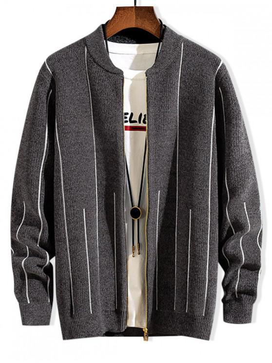affordable Striped Graphic Zip Up Casual Sweater - DARK GRAY S