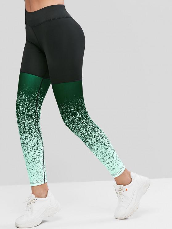 sale High Waist Speckled Sports Leggings - MULTI-A L