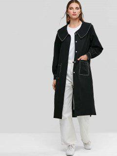 Button Up Patched Pockets Side Slit Longline Coat - Black S
