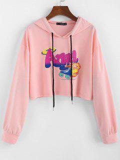 ZAFUL Letter Graphic Drawstring Cropped Hoodie - Flamingo Pink L