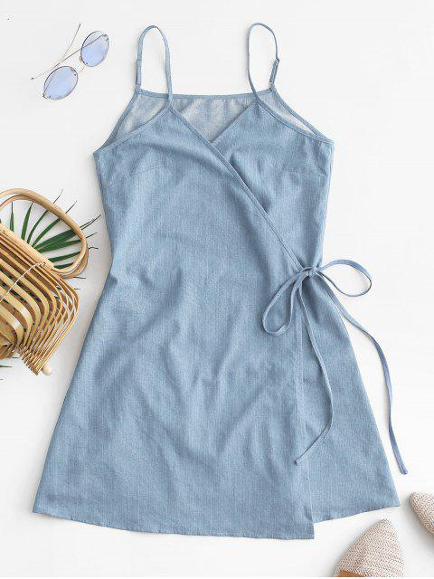 outfits ZAFUL Tie Chambray Cami Wrap Dress - JEANS BLUE S Mobile