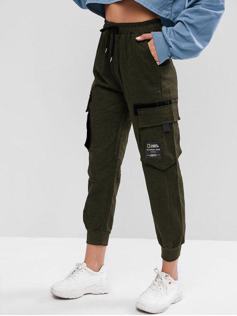 affordable Drawstring Slogan Patched Flap Pockets Jogger Pants - ARMY GREEN M Mobile