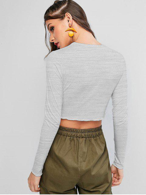 lady ZAFUL Tarot Card Graphic Lettuce Hem Cropped Tee - GRAY L Mobile