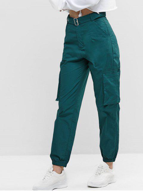 Bolsillos color sólido con cinturón de los pantalones del basculador - Mar Verde Mediana XL Mobile