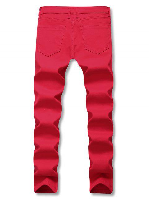 womens Solid Color Zipper Decoration Casual Jeans - RED 32 Mobile