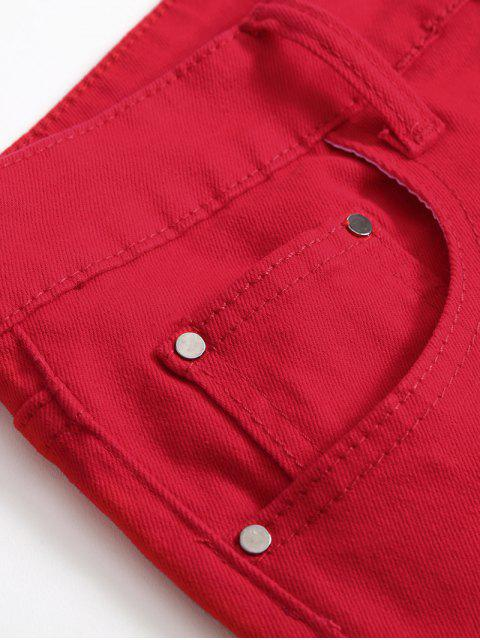 online Solid Color Zipper Decoration Casual Jeans - RED 36 Mobile