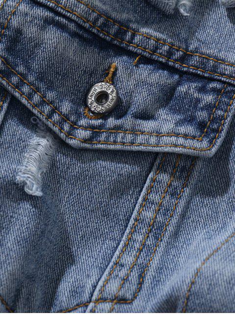 Veste Bicolore Boutonnée avec Poches en Denim - Multi XS Mobile