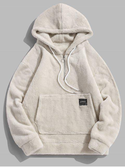 hot Applique Solid Color Faux Fur Half Zipper Drawstring Hoodie - WARM WHITE M Mobile
