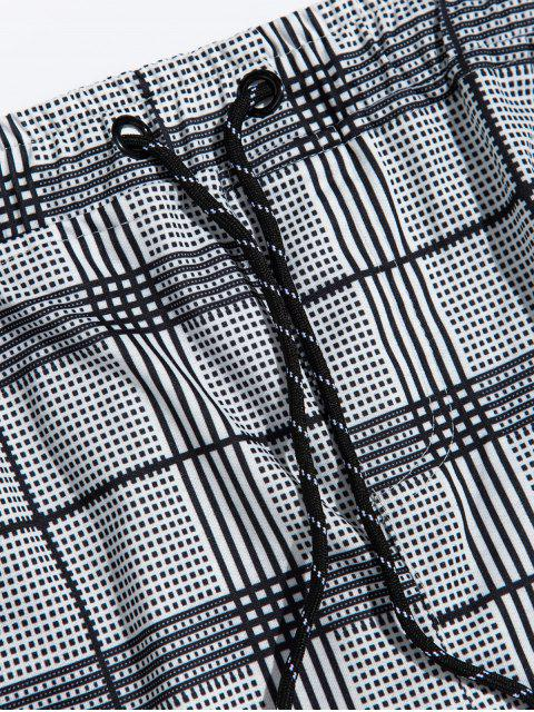 格紋打印面條紋抽繩短褲慢跑者 - 黑色 XL Mobile