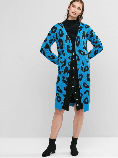 trendy Leopard Pocket Drop Shoulder Cardigan - OCEAN BLUE S Mobile