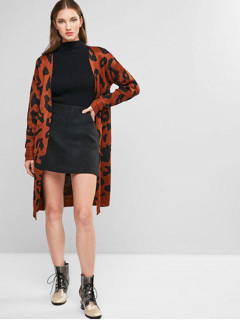 womens Leopard Pocket Drop Shoulder Cardigan - SEPIA S Mobile
