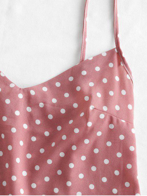Tupfen-Bauchfreies Pyjama Set - Lippenstift Rosa XL Mobile
