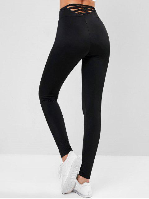 ZAFUL Legging Croisé en Couleur Unie à Taille Haute - Noir M Mobile