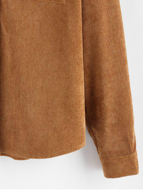 buy ZAFUL Button Up Pockets Corduroy Shirt - CARAMEL L Mobile
