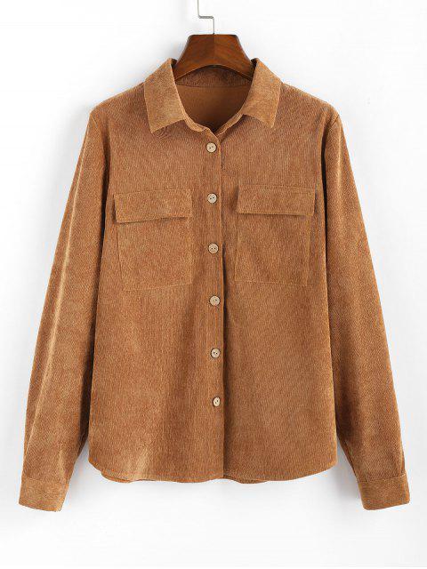 shop ZAFUL Button Up Pockets Corduroy Shirt - CARAMEL XL Mobile