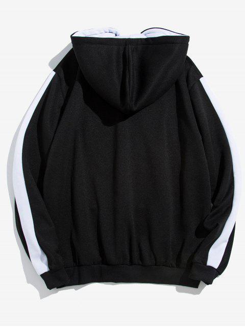 shop Contrast Tape Sleeve Kangaroo Pocket Fleece Hoodie - BLACK 2XL Mobile