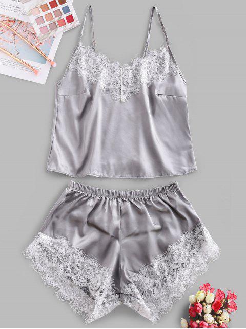 buy Lace Panel Satin Crop Pajama Set - GRAY S Mobile