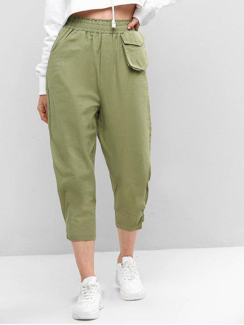 ポケット付きハイウエストソリッドパンツ - ダークシーグリーン ワンサイズ Mobile