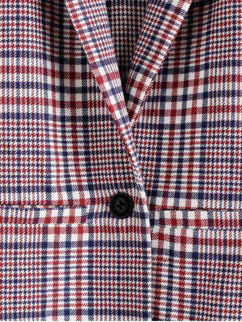 trendy ZAFUL Plaid Lapel One Button Longline Blazer - RED WINE M Mobile