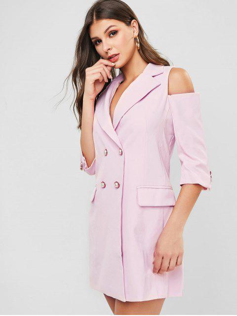 ladies Cold Shoulder Pocket Longline Blazer - PINK M Mobile