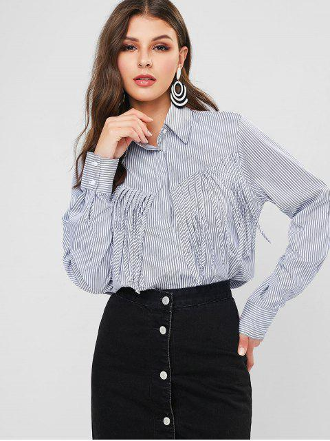 women's Striped Fringed High Low Shirt - MULTI-A S Mobile