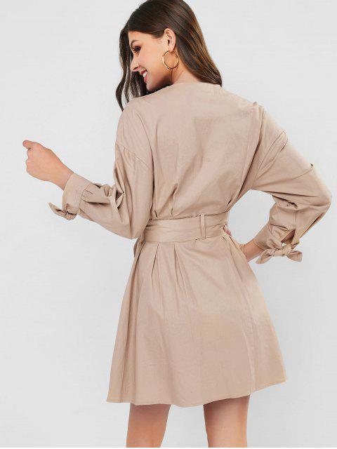 Robe Plongeante Ceinturée Nouée à Volants - Kaki Léger L Mobile