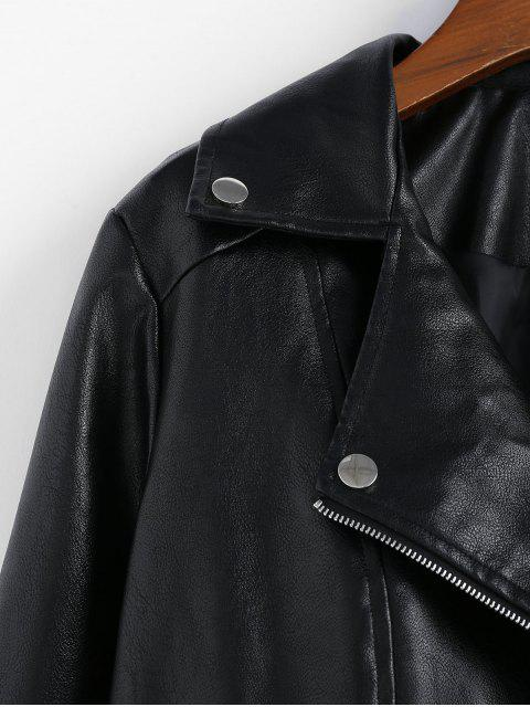 shops ZAFUL Faux Leather Zip Pocket Biker Jacket - BLACK XL Mobile