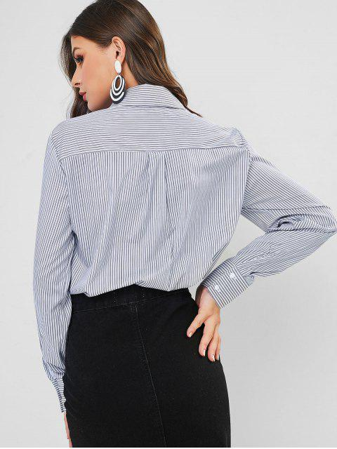 lady Striped Fringed High Low Shirt - MULTI-A L Mobile
