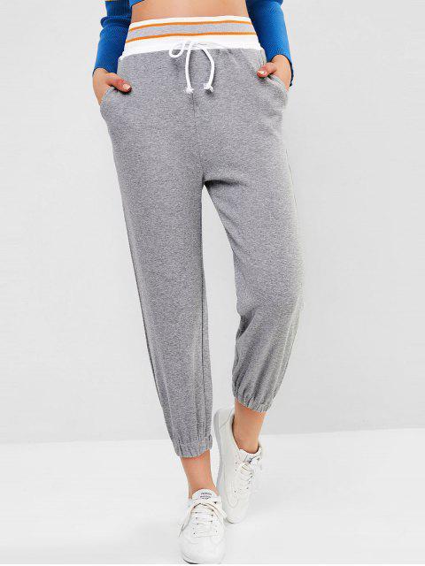 Pantalones cordón en la cintura del bolsillo del basculador de punto elástico - Gris M Mobile