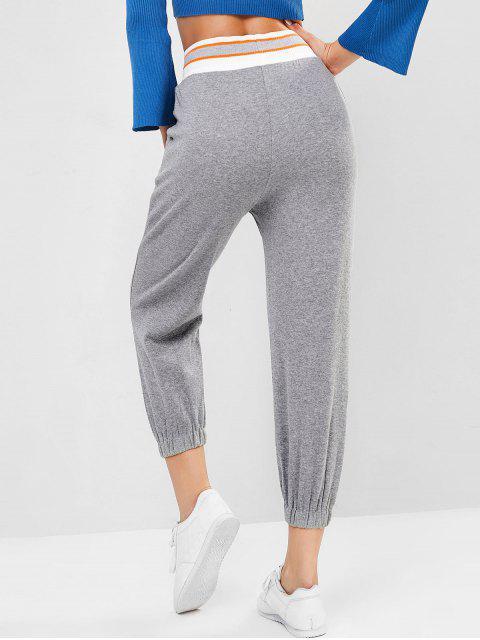 Pantalones cordón en la cintura del bolsillo del basculador de punto elástico - Gris L Mobile