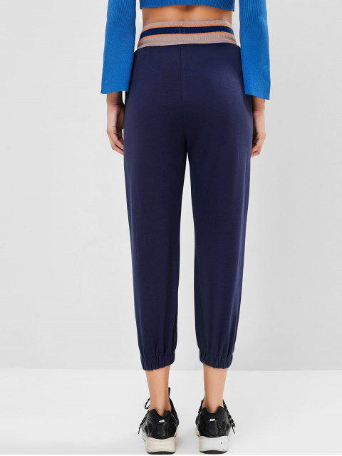 outfit Rib-knit Waistband Drawstring Pocket Jogger Pants - DEEP BLUE L Mobile