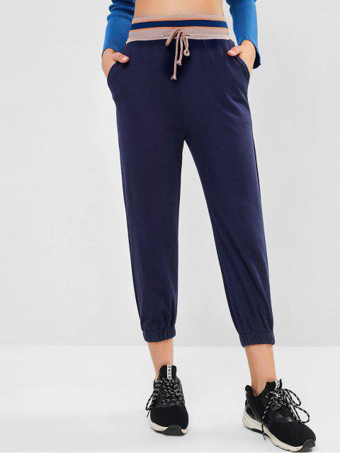 womens Rib-knit Waistband Drawstring Pocket Jogger Pants - DEEP BLUE S Mobile