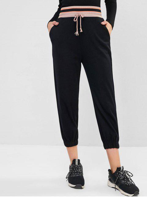 Pantalones cordón en la cintura del bolsillo del basculador de punto elástico - Negro M Mobile