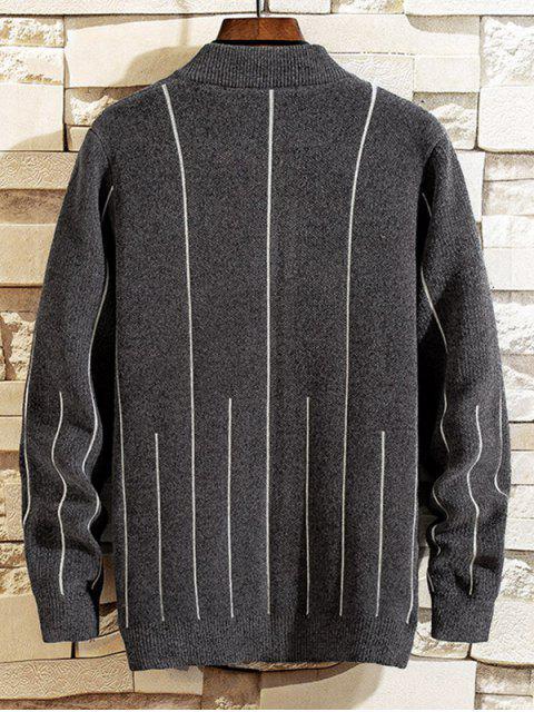 Gestreifter Grafik Reißverschluss Casual Pullover - Dunkelgrau S Mobile