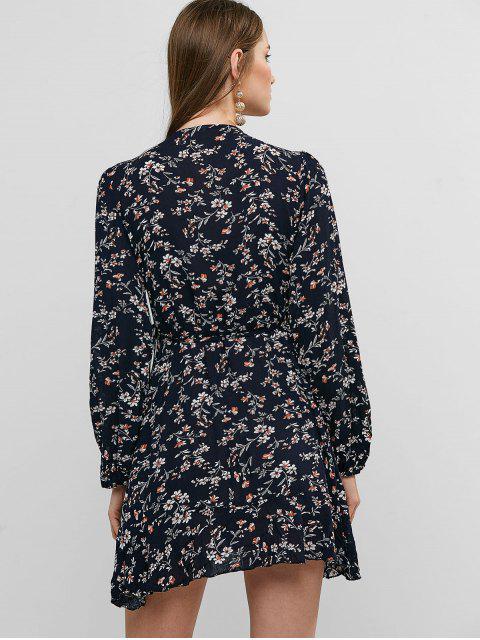 Robe Fleure Manches Longues à Volants - Bleu de Minuit S Mobile