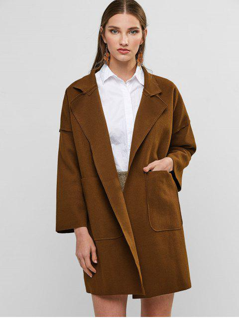 shop Open Front Wool Blend Coat - BROWN M Mobile