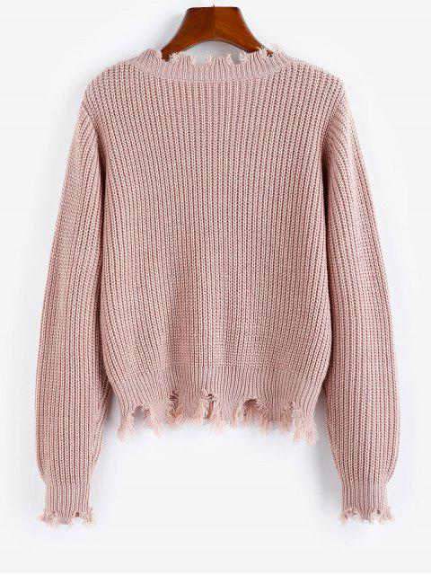 unique ZAFUL Ripped Frayed Detail Plain Sweater - ROSE S Mobile